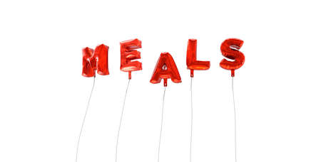 MEALS - word made from red foil balloons - 3D rendered.  Can be used for an online banner ad or a print postcard. Stock Photo