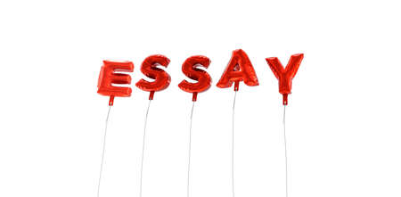 ESSAY - word made from red foil balloons - 3D rendered.  Can be used for an online banner ad or a print postcard. Stock Photo