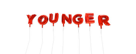 younger: YOUNGER - word made from red foil balloons - 3D rendered.  Can be used for an online banner ad or a print postcard. Stock Photo