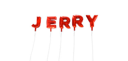 JERRY - word made from red foil balloons - 3D rendered.  Can be used for an online banner ad or a print postcard.