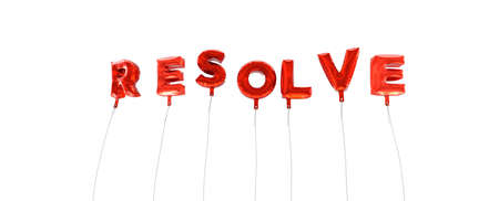 RESOLVE - word made from red foil balloons - 3D rendered.  Can be used for an online banner ad or a print postcard.
