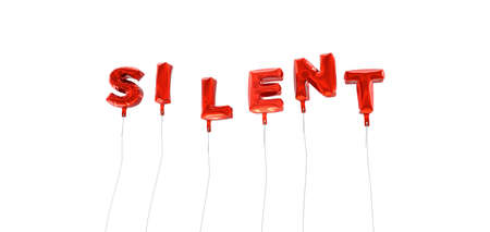 silent: SILENT - word made from red foil balloons - 3D rendered.  Can be used for an online banner ad or a print postcard. Stock Photo