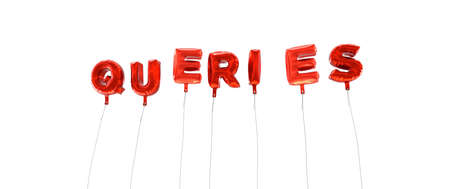 queries: QUERIES - word made from red foil balloons - 3D rendered.  Can be used for an online banner ad or a print postcard.