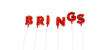 brings: BRINGS - word made from red foil balloons - 3D rendered.  Can be used for an online banner ad or a print postcard.