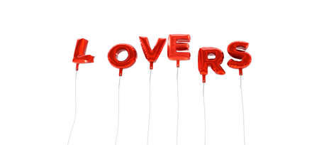 LOVERS - word made from red foil balloons - 3D rendered.  Can be used for an online banner ad or a print postcard.