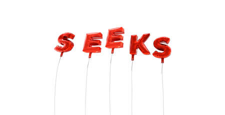 SEEKS - word made from red foil balloons - 3D rendered.  Can be used for an online banner ad or a print postcard.