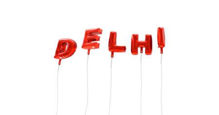 델리 - 빨간색 호 풍선에서 만든 단어 - 3D 렌더링. 온라인 배너 광고 또는 인쇄 엽서에 사용할 수 있습니다.