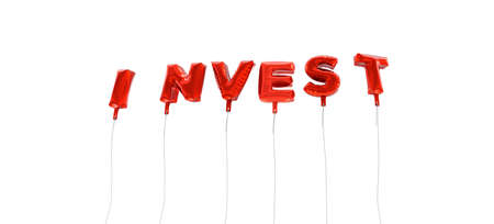 INVEST - word made from red foil balloons - 3D rendered.  Can be used for an online banner ad or a print postcard.