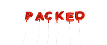 PACKED - word made from red foil balloons - 3D rendered.  Can be used for an online banner ad or a print postcard. Stock Photo