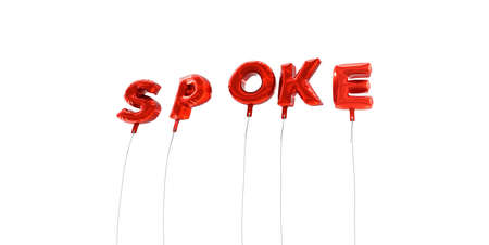 spoke: SPOKE - word made from red foil balloons - 3D rendered.  Can be used for an online banner ad or a print postcard.