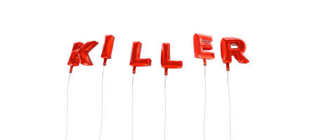 KILLER - word made from red foil balloons - 3D rendered.  Can be used for an online banner ad or a print postcard.