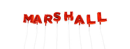 MARSHALL - word made from red foil balloons - 3D rendered.  Can be used for an online banner ad or a print postcard. Stock Photo
