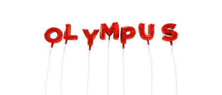 OLYMPUS - word made from red foil balloons - 3D rendered.  Can be used for an online banner ad or a print postcard. Editorial