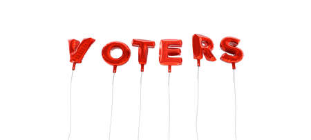 voters: VOTERS - word made from red foil balloons - 3D rendered.  Can be used for an online banner ad or a print postcard.