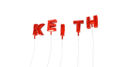 keith: KEITH - word made from red foil balloons - 3D rendered.  Can be used for an online banner ad or a print postcard. Stock Photo