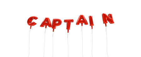 CAPTAIN - word made from red foil balloons - 3D rendered.  Can be used for an online banner ad or a print postcard. Stock Photo