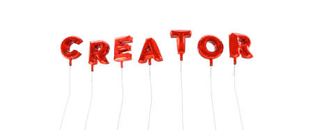 creador: CREATOR - word made from red foil balloons - 3D rendered.  Can be used for an online banner ad or a print postcard. Foto de archivo