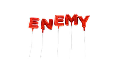enemy: ENEMY - word made from red foil balloons - 3D rendered.  Can be used for an online banner ad or a print postcard. Stock Photo