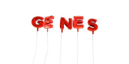 genes: GENES - word made from red foil balloons - 3D rendered.  Can be used for an online banner ad or a print postcard.