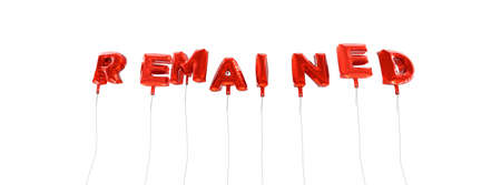 remained: REMAINED - word made from red foil balloons - 3D rendered.  Can be used for an online banner ad or a print postcard.