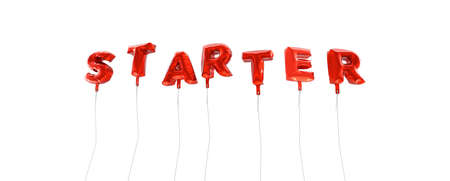 starter: STARTER - word made from red foil balloons - 3D rendered.  Can be used for an online banner ad or a print postcard. Stock Photo