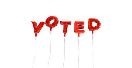 VOTED - word made from red foil balloons - 3D rendered.  Can be used for an online banner ad or a print postcard.