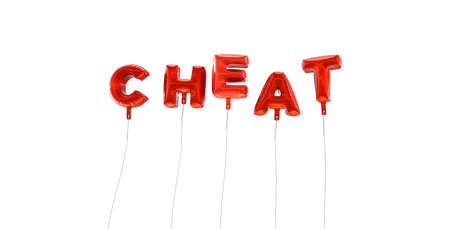 CHEAT - word made from red foil balloons - 3D rendered.  Can be used for an online banner ad or a print postcard.