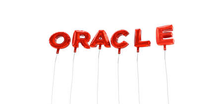 ORACLE - word made from red foil balloons - 3D rendered.  Can be used for an online banner ad or a print postcard. Stock Photo