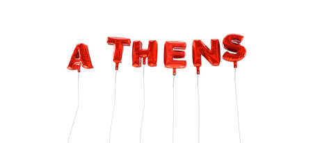 ATHENS - word made from red foil balloons - 3D rendered.  Can be used for an online banner ad or a print postcard. Stock Photo