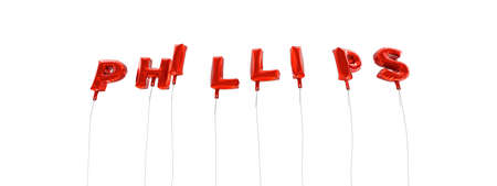 PHILLIPS - word made from red foil balloons - 3D rendered.  Can be used for an online banner ad or a print postcard.