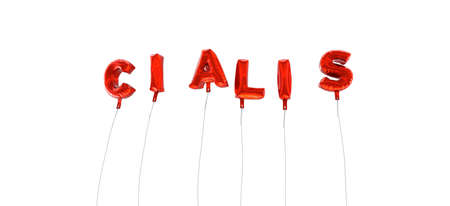 CIALIS - word made from red foil balloons - 3D rendered.  Can be used for an online banner ad or a print postcard.