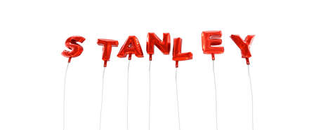 STANLEY - word made from red foil balloons - 3D rendered.  Can be used for an online banner ad or a print postcard. Stock Photo