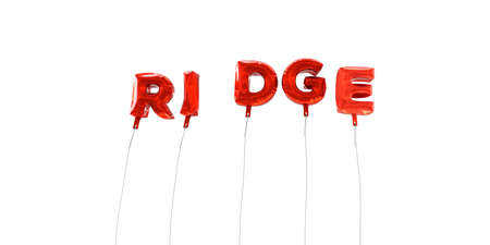 ridge: RIDGE - word made from red foil balloons - 3D rendered.  Can be used for an online banner ad or a print postcard.
