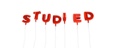 studied: STUDIED - word made from red foil balloons - 3D rendered.  Can be used for an online banner ad or a print postcard.