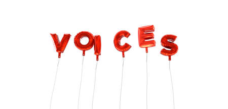 voices: VOICES - word made from red foil balloons - 3D rendered.  Can be used for an online banner ad or a print postcard.
