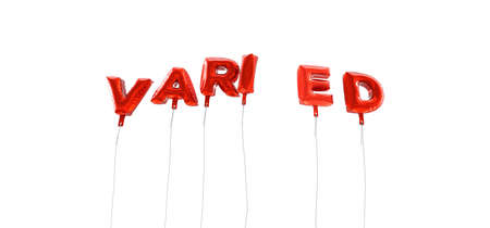 varied: VARIED - word made from red foil balloons - 3D rendered.  Can be used for an online banner ad or a print postcard.
