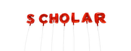 scholar: SCHOLAR - word made from red foil balloons - 3D rendered.  Can be used for an online banner ad or a print postcard. Stock Photo