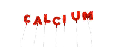 single word: CALCIUM - word made from red foil balloons - 3D rendered.  Can be used for an online banner ad or a print postcard.