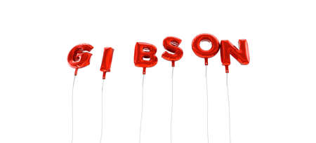 GIBSON - word made from red foil balloons - 3D rendered.  Can be used for an online banner ad or a print postcard.