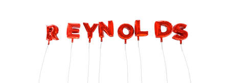 reynolds: REYNOLDS - word made from red foil balloons - 3D rendered.  Can be used for an online banner ad or a print postcard.