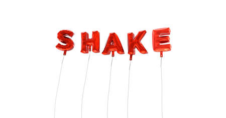 SHAKE - word made from red foil balloons - 3D rendered.  Can be used for an online banner ad or a print postcard. Stock Photo