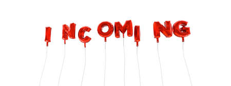 oracion: INCOMING - word made from red foil balloons - 3D rendered.  Can be used for an online banner ad or a print postcard.