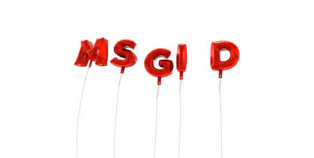 oracion: MSGID - word made from red foil balloons - 3D rendered.  Can be used for an online banner ad or a print postcard.