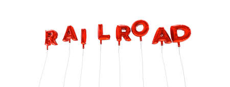 RAILROAD - word made from red foil balloons - 3D rendered.  Can be used for an online banner ad or a print postcard.