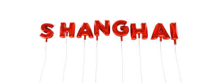 SHANGHAI - word made from red foil balloons - 3D rendered.  Can be used for an online banner ad or a print postcard.