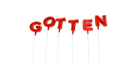 GOTTEN - word made from red foil balloons - 3D rendered.  Can be used for an online banner ad or a print postcard.