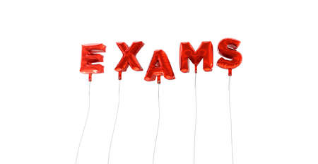 exams: EXAMS - word made from red foil balloons - 3D rendered.  Can be used for an online banner ad or a print postcard.