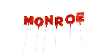 monroe: MONROE - word made from red foil balloons - 3D rendered.  Can be used for an online banner ad or a print postcard.