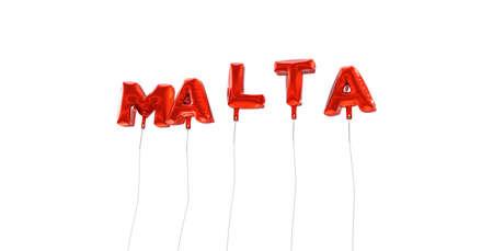 몰타 - 빨간색 호 풍선에서 만든 단어 - 3D 렌더링. 온라인 배너 광고 또는 인쇄 엽서에 사용할 수 있습니다.
