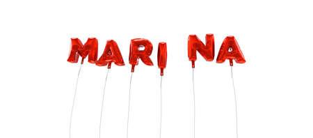 マリーナ - 赤箔バルーン - 3 D レンダリングから作られた言葉。 オンラインのバナー広告や印刷のはがきに使用できます。 写真素材